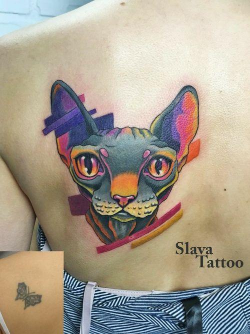 #StaniSlavaTerskaya #SlavaTattoo #tattoocolor #tattoocat #catstattoos