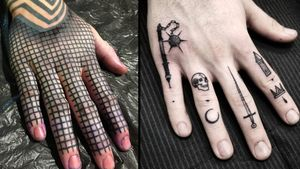 Tattoo on the left by Gerhard Wiesbeck and tattoo on the right by Thomas E #ThomasE #Gerhardwiesbeck #fingertattoos #fingertattoo #finger #hand