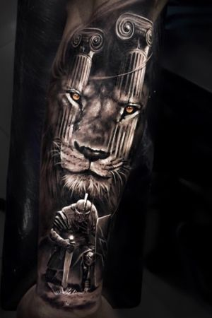 Black & gray realism lion and soldier warrior roman @pedromullertattoos