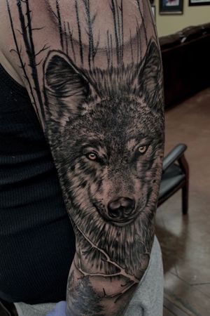 Realistic wolf portrait with moon and trees