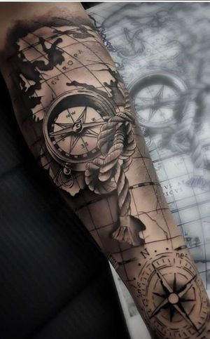 Full arm compass tattoo