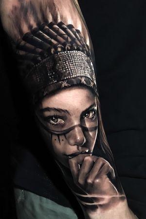 Black & gray realism native american indian woman @pedromullertattoos