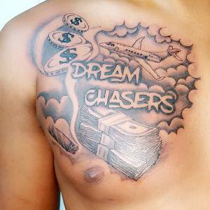#DreamChaser #dreamchaserstattoo #blackandgreytattoo #black&greytattoo #planetattoo #moneytattoo #cigartattoo #chesttattoo