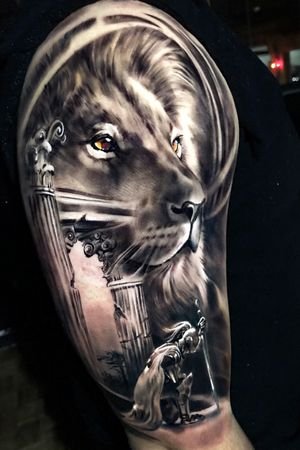 Black & gray realism lion warrior @pedromullertattoos