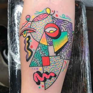 Tattoo by Robert Wilden aka deathsure #RobertWilden #deathsure #abstracttattoos #abstracttattoo #abstract #shapes #surreal #strange #portrait #cubist #face