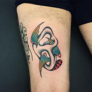 Tattoo by Loic Vh #LoicVh #abstracttattoos #abstracttattoo #abstract #shapes #surreal #strange #color #traditional #wings