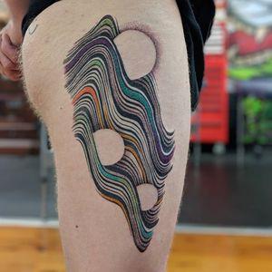 Tattoo by Ben Doukakis #BenDoukakis #abstracttattoos #abstracttattoo #abstract #shapes #surreal #strange #linework #illustrative #color
