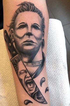 Done by Bram Koenen - Resident Artist @swallowink @iqtattoogroup tat #tatt #tattoo #tattoos #tattooart #tattooartist #blackandgrey #blackandgreytattoo #ink #inkee #inkedup #inklife #realistic #realistictattoo #halloween #halloweentattoo #michaelmyers #michaelmyerstattoo #inklovers #art #bergenopzoom #netherlands