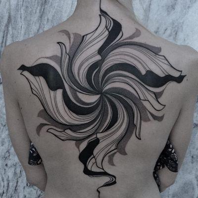 Tattoo by Mare aka pavla.blk #Mare #pavlablk #abstracttattoos #abstracttattoo #abstract #shapes #surreal #strange #blackandgrey #linework #dotwork #illustrative #backpiece