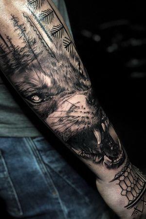 Wolf and filippino tribal #tattoodo #tattoos #Cheyenne #bishoprotary