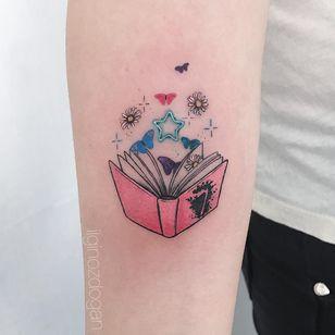 Tattoo by Ilgin Ozdogan #ilginozdogan #booktattoos #booktattoo #book #literary #novel #reading #novel #star #daisy #butterfly #sparkle #color #illustrative