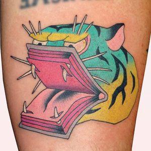 Tattoo by Brindi #Brindi #booktattoos #booktattoo #book #literary #novel #reading #novel #color #Japanese #tiger #junglecat #cat