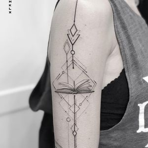 Tattoo by Mklx #Mklx #booktattoos #booktattoo #book #literary #novel #reading #novel #fineline #dotwork #sacredgeometry #diamond #geometric
