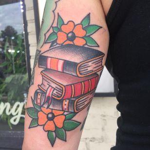 Tattoo by Dave Rash #DaveRash #booktattoos #booktattoo #book #literary #novel #reading #novel #color #traditional #flowers