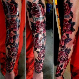 #rosetattoos #sandiego #colortattoos #armsleeve