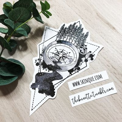 I made a Compass Collection so you can make your own compass tattoo! This is one of the ready-to-use designs that are includeed in the collection too! Go and get it www.skinque.com or ask for a commissions there too or help@skinque.com #blackwork #blackandgrey #compass #abstract #forest #tree #anchor #travel #wanderlust #forearm #arrow #watercolor #trashpolka #abstract #linework #forest #tree #galaxy #space #sky