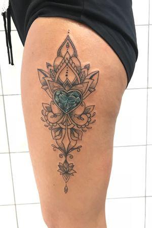 Mandala and blue diamond tattoo. Ornamenthal tattoo