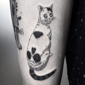 Tattoo by Frankie Sexton #FrankieSexton #skulltattoos #opticalillusion #mashup #death #blackwork #illustrative #cat #kitty #junjiito #anime #manga #darkart #monmoncat