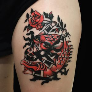 Tattoo by Chingy Fringe #ChingyFringe #skulltattoos #opticalillusion #mashup #death #lady #color #demon #rose #traditional