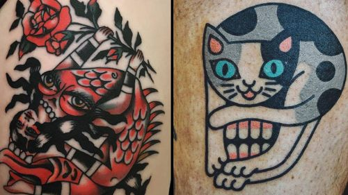 Tattoo on the left by Chingy Fringe and tattoo on the right by Woo Loves You #ChingyFringe #WooLovesYou #heowoohyun  #skulltattoos #opticalillusion #mashup #death