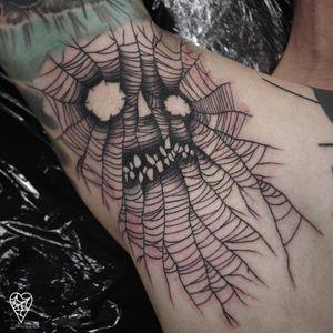 Tattoo by Lukasz Sokolowski #LukaszSokolowski #skulltattoos #opticalillusion #mashup #death #linework #Illustrative #spiderweb
