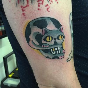 Tattoo by Christina Hock #ChristinaHock #skulltattoos #opticalillusion #mashup #death #cat #color #kitty