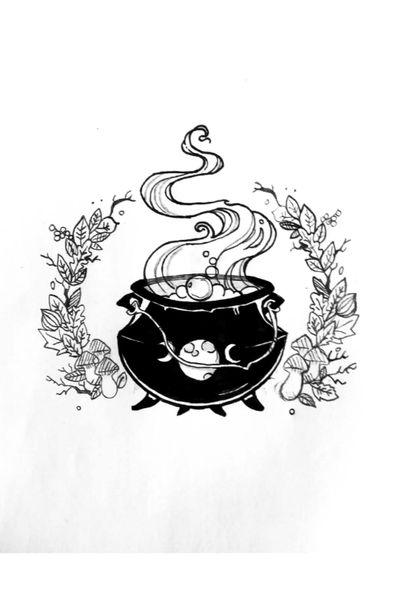 Sketch for my next voluntaree😀💖 #tete #apprenticetattoo #apprentice #tattooapprentice #witchtattoo #witch #witchcraft #witchcrafttattoo #caldero #moon #autumnleaves #autumn #tattooart #tattoo