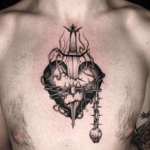 Tattoo by Sera Helen #SeraHelen #sacredhearttattoos #sacredhearttattoo #sacredheart #heart #fire #love #religious #sword #chain #skull #blackandgrey