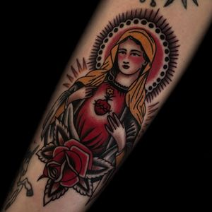 Tattoo by Austin Maples #AustinMaples #sacredhearttattoos #sacredhearttattoo #sacredheart #heart #fire #love #religious #VirginMary #rose #flower #color #traditional