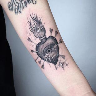 Tattoo by Alan Chen #AlanChen #sacredhearttattoos #sacredhearttattoo #sacredheart #heart #fire #love #religious #blackandgrey #illustrative #sparkle #tears #arrows