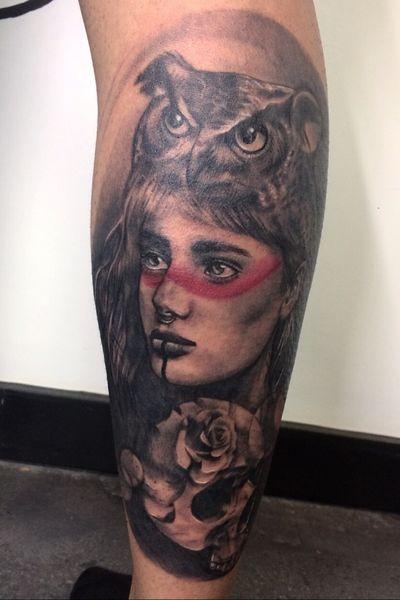 More on instagram - reecheetattoo #girl #ladyface #tribal #owl #skull #headdress #tattoo #portrait #blackwork #whipshading #blackandwhite #blackandgrey #blackandgreytattoo #realistictattoo #realismartist #realism #smallrealism #londontattoo #london