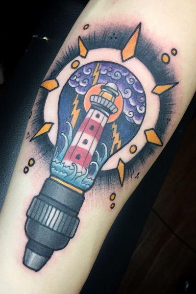 #joewutattoo #neotraditional #lightbulb #lighthouse
