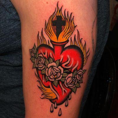 Tattoo by Tyler Abner #TylerAbner #sacredhearttattoos #sacredhearttattoo #sacredheart #heart #fire #love #religious $rose #flower #blood #cross #color #traditional