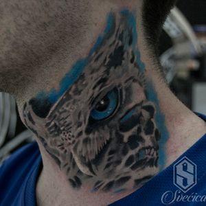 #necktattoo #owlandskull #tattooart #tattooaddict