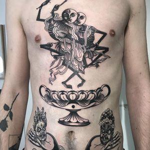 Tattoo by Inaki Aires #InakiAires #tibetantattoos #tibetan #tibetinspired #tibetanbuddhist #enlightenment #religious #philosophy #tibet #blackandgrey #skeletons #skulls #death #hamsa #deity #illustrative