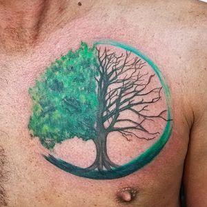 #tattoo #color #colorrealism #treeoflife #brushstroke #art #painting #paintedtattoo #art #ink #inkedguys #inked #life