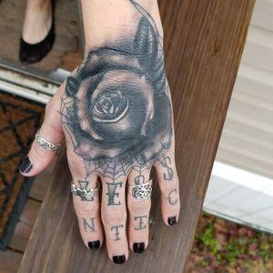 Rose I did on my wife #rose #rosetattoo #theatomictattoo #austintattoo #blackandgreytattoos