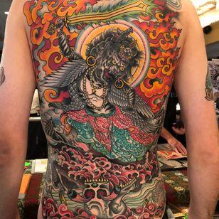 Tattoo by Chad Koeplinger #ChadKoeplinger #tibetantattoos #tibetan #tibetinspired #tibetanbuddhist #enlightenment #religious #philosophy #tibet #color #deity #cat #skull #death #fire #backpiece