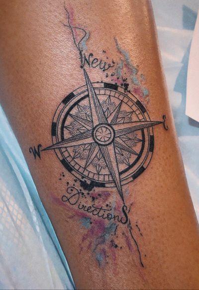 www.anastation-tattoo.com #anastationtattoo #compass #watercolor #dotwork #linework #fineline #words