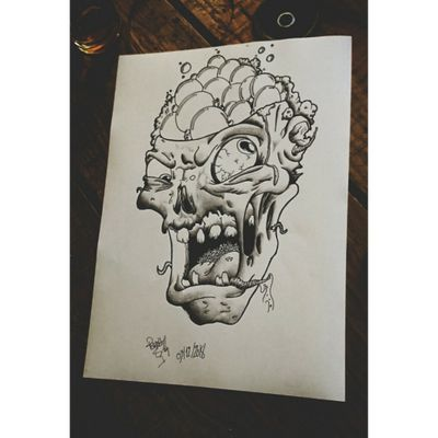 #byme #zombie #dead #draw #drawing #tattoo #ink #inked #dirty #blackandgrey #oldschool