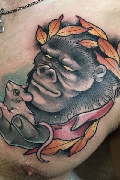 Goriila tattoo for my sketch. #gorilla #art #neotraditional #newschool #dankotattoo #color #mouse