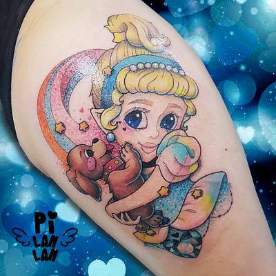 CINDERELLA #plinthespace #tattoo #art #kawaiitattoo #kawaii #cinderella #cinderella #cutetattoo #dogtattoo #cute #disney #disneytattoo #princess #princesstattoo #girltattoo #colortattoo #fkiron