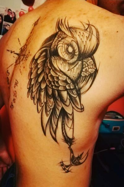 #owltattoo #owl #LampTattoo #sketchstyle #sketchtattoo #genielamp #totem #animal #inked
