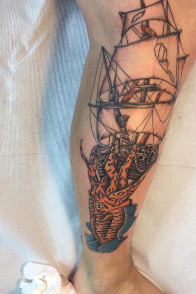 Kraken/cuttlefish taking down a ship #cuttlefish #octopus #kraken #pirateship #sea #pirate #colour