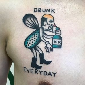 Tattoo by Scumboy 666 #Scumboy666 #besttattoos #besttattoo #best #favorite #color #traditional #drunk #alcohol #barfly #fly