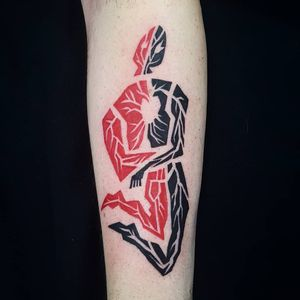 Tattoo by Uve #Uve #redinktattoos #redink #color #body #illustrative #heart #graphic #abstract #surreal