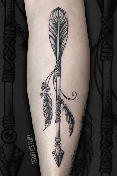 Blackwork arrow leg tattoo #arrow #blackwork #dotwork