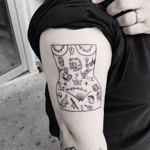 Tattoo by Dino Cestchiant #DinoCestchiant #tattooedladytattoos #tattooedlady #tattooedgirl #tattoos #pinups #lady #ladyhead #ladyportrait #babe #cat #heart #barbedwire #illustrative