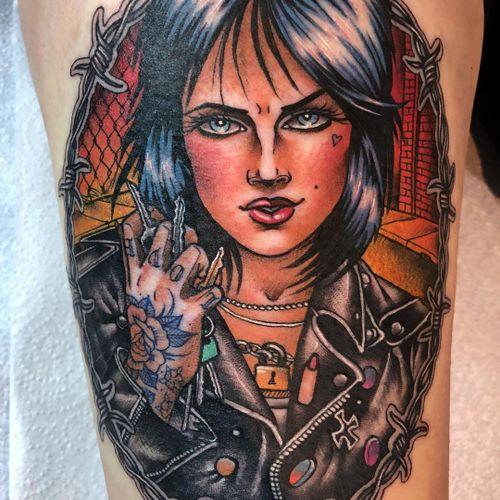 Tattoo by Guen Douglas #GuenDouglas #tattooedladytattoos #tattooedlady #tattooedgirl #tattoos #pinups #lady #ladyhead #ladyportrait #babe punk #color #neotraditional
