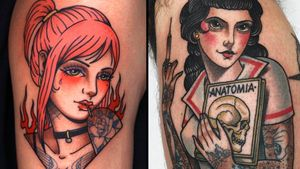 Tattoo on the left by Mick Gore and tattoo on the right by Xam #Xam #XamtheSpaniard #MickGore #tattooedladytattoos #tattooedlady #tattooedgirl #tattoos #pinups #lady #ladyhead #ladyportrait #babe
